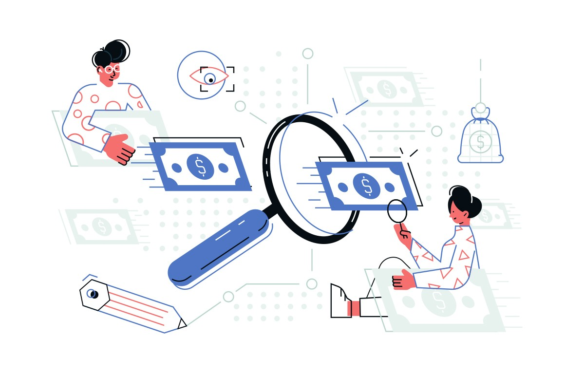 People searching money vector illustration. Cartoon man and woman with magnifier looking for banknotes signs flat style concept. Water marks and protection levels of greenbacks