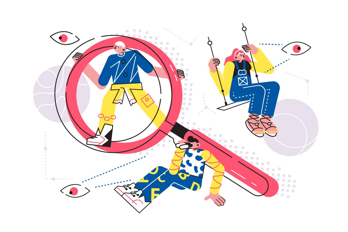 Ways to search necessary information vector illustration. Man watch with binoculars, guy looking through magnifier, woman riding on swing and watching for something flat style design