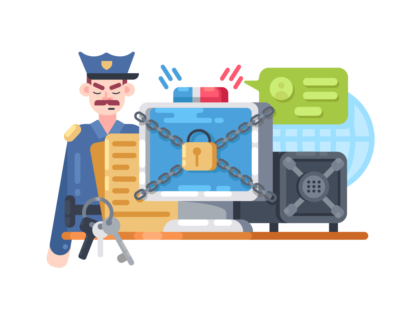 Digital protection and security illustration