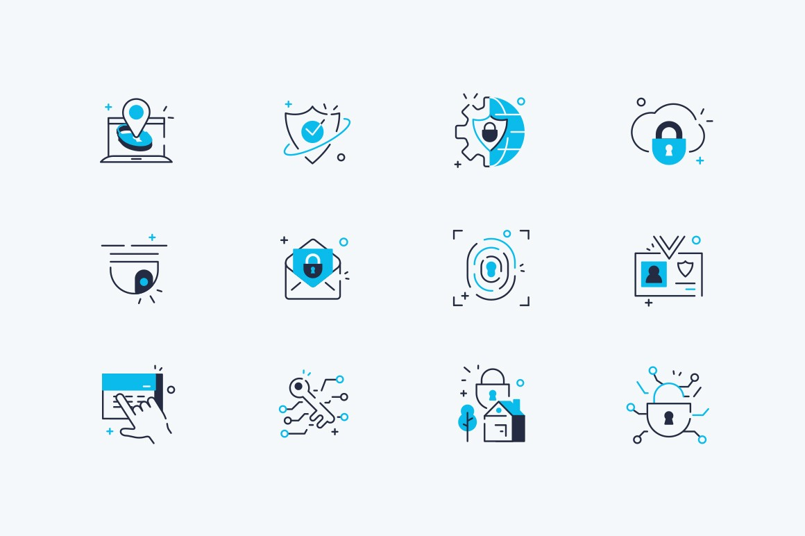 Security line icons set vector illustration. Collection consists of surveillance camera, fingerprint, id pass symbols flat style design. Network and data protection concept. Isolated on white