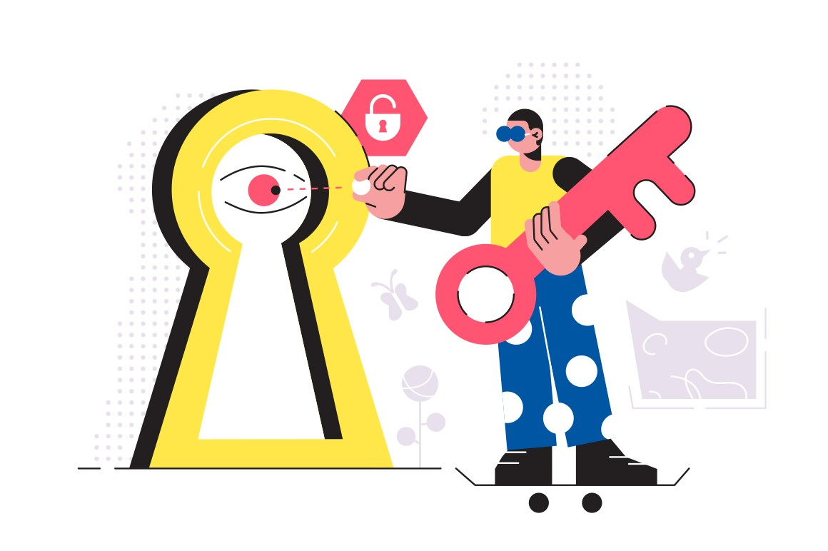 Businessman identification on modern lock vector illustration. Large padlock and big key cartoon design. Personal data security. Technology and information protection concept