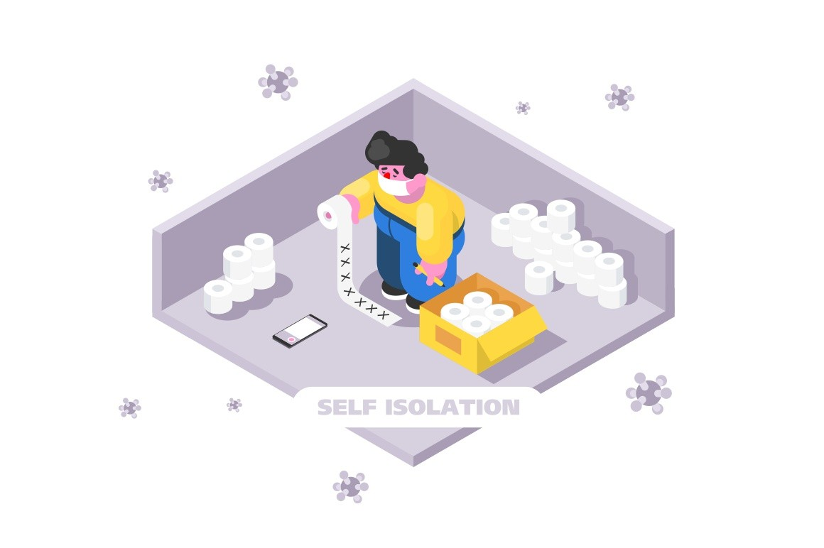Person at home feeling safe and protected vector illustration. Bacteria outside flat style. Supply of toilet paper. Prevention of virus spread. Self isolation concept. Isolated on white background