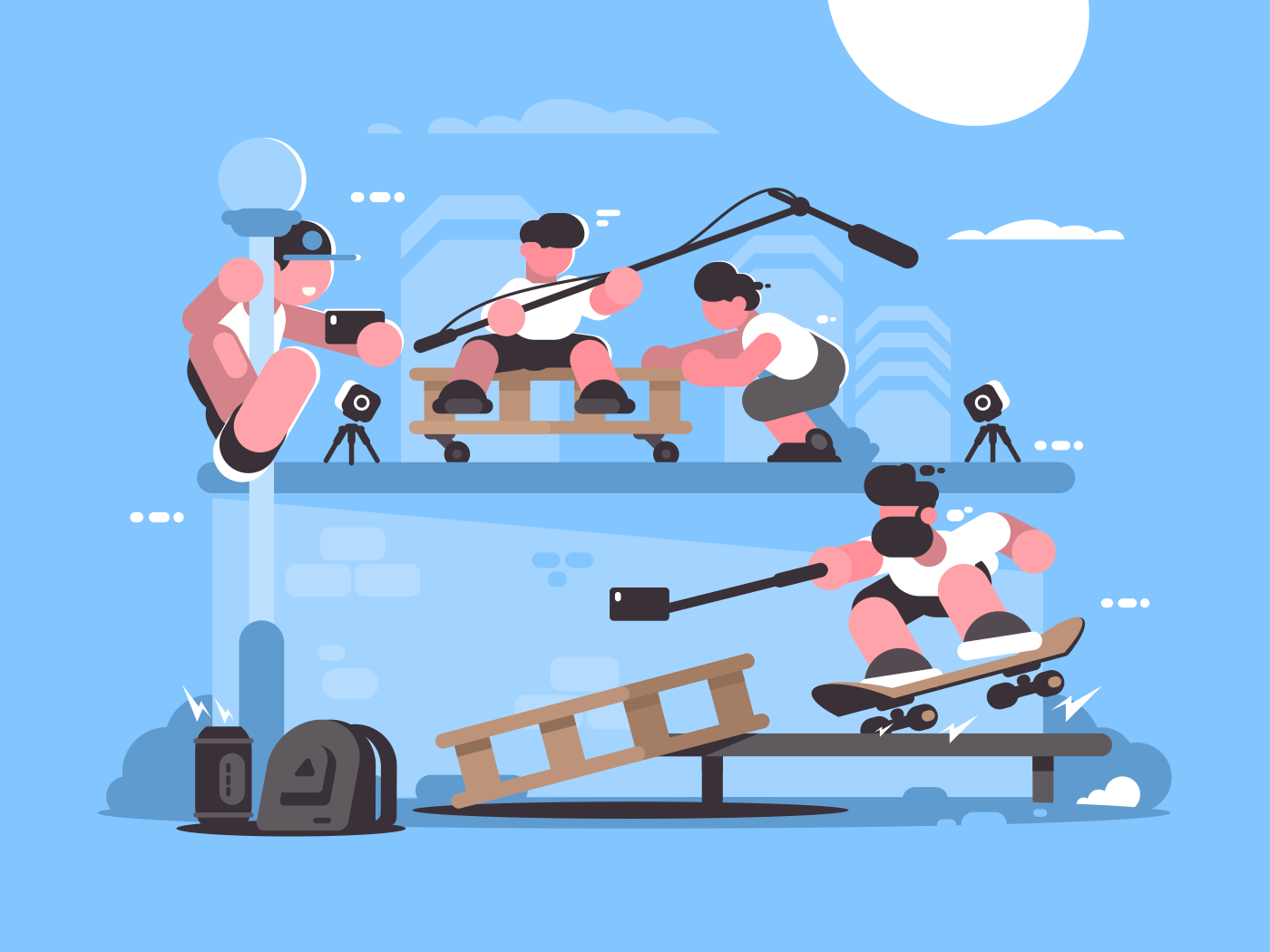 Guy makes selfie photo and video on camera. Vector illustration