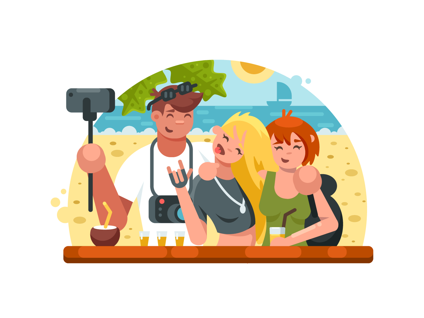Company of friends making selfies illustration