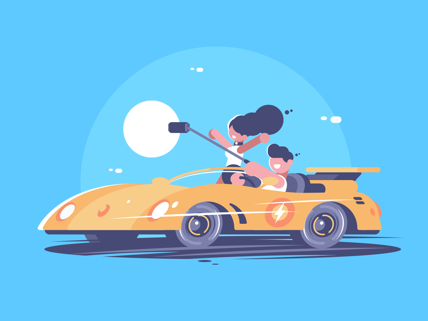 Make selfie from car. Happy young couple in cabriolet. Vector illustration