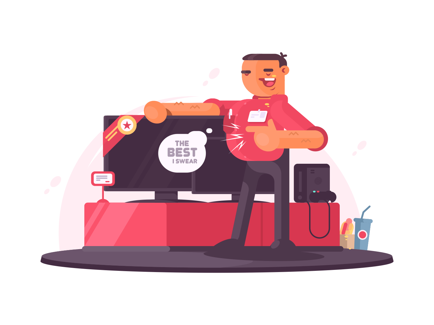 Successful salesman in electrical shop illustration