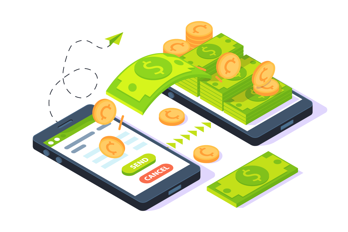 3d isometric mobile sending money with dollars and gold coin.