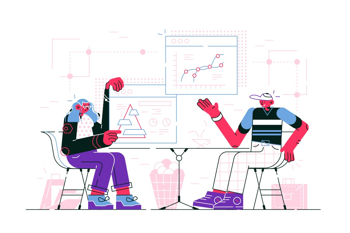 Man and woman discussing business offer vector illustration. Colleagues looking at statistics data and decide on new start-up flat style design. Negotiations concept