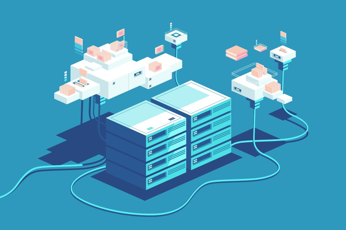 Server rack equipment vector illustration. Data center storage room objects flat style design. Web hosting facilities industry. Modern digital technology concept