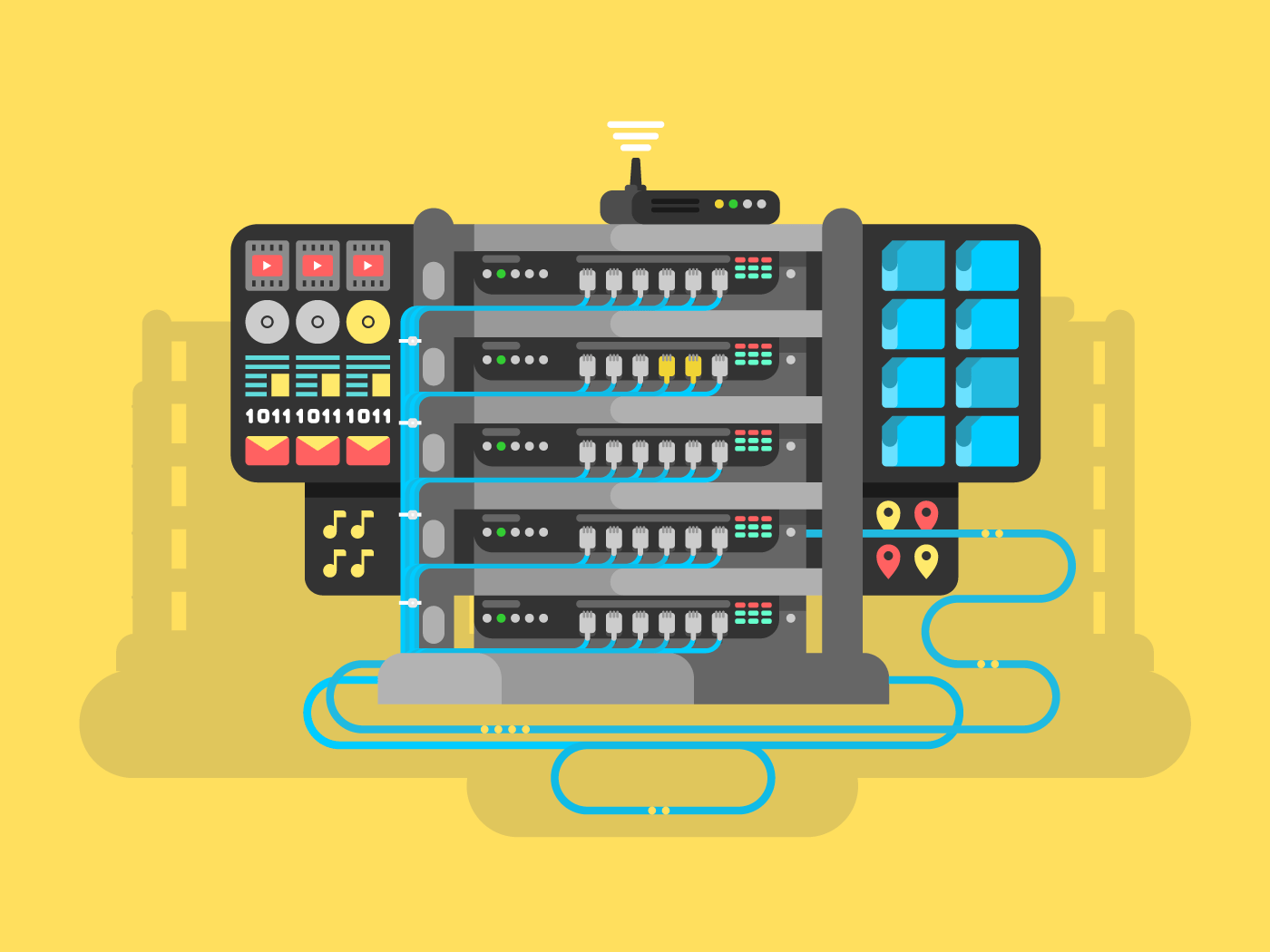 Server flat vector illustration