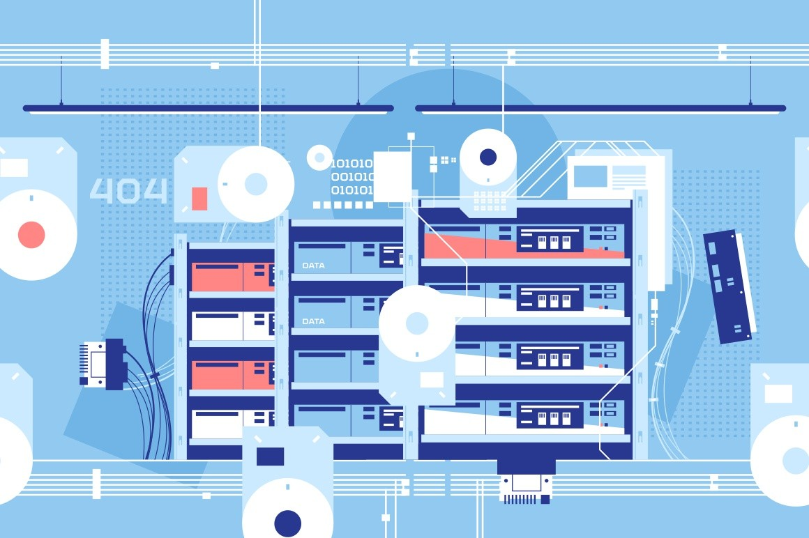 High technology server room with important data vector illustration. Scientific chamber. Information about internet and social media users stored and encrypted flat style concept