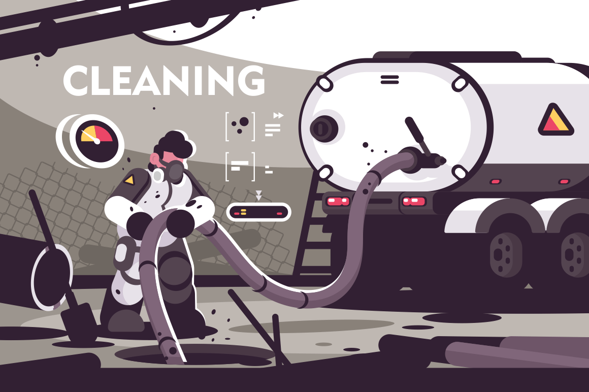 Sewer Cleaning service flat poster. Professional plumber characters in uniform working at sewer manhole with septic truck plumbing serve vector illustration