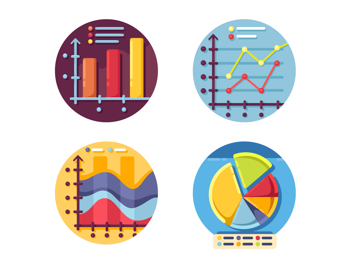 Graphs and diagrams icons