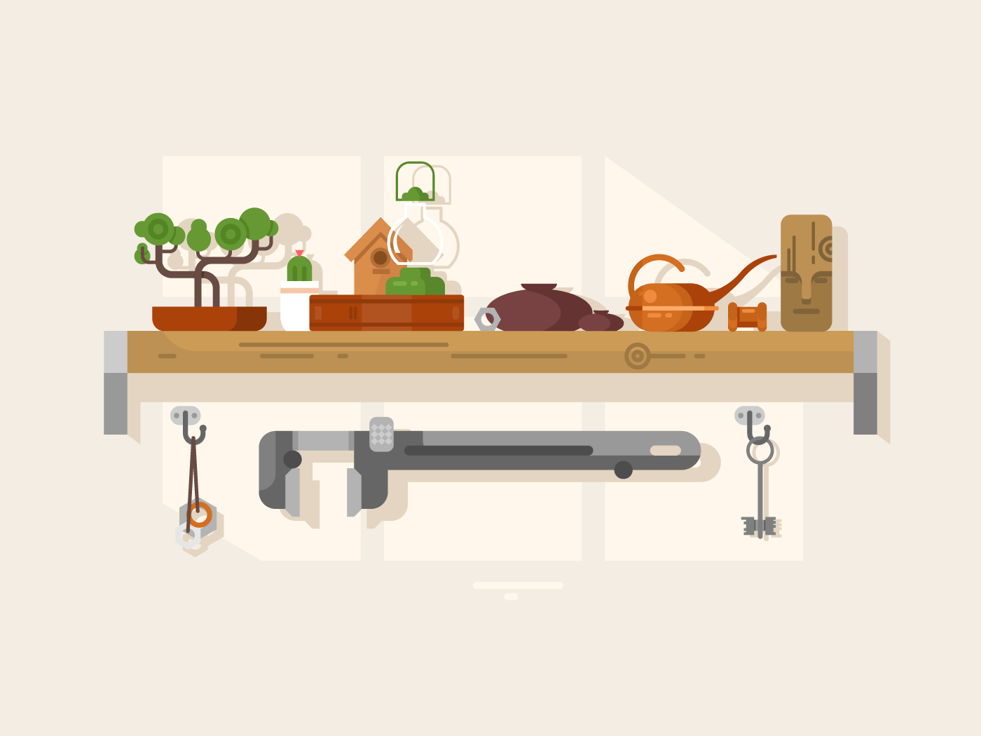 Shelf interior with object flat vector illustration