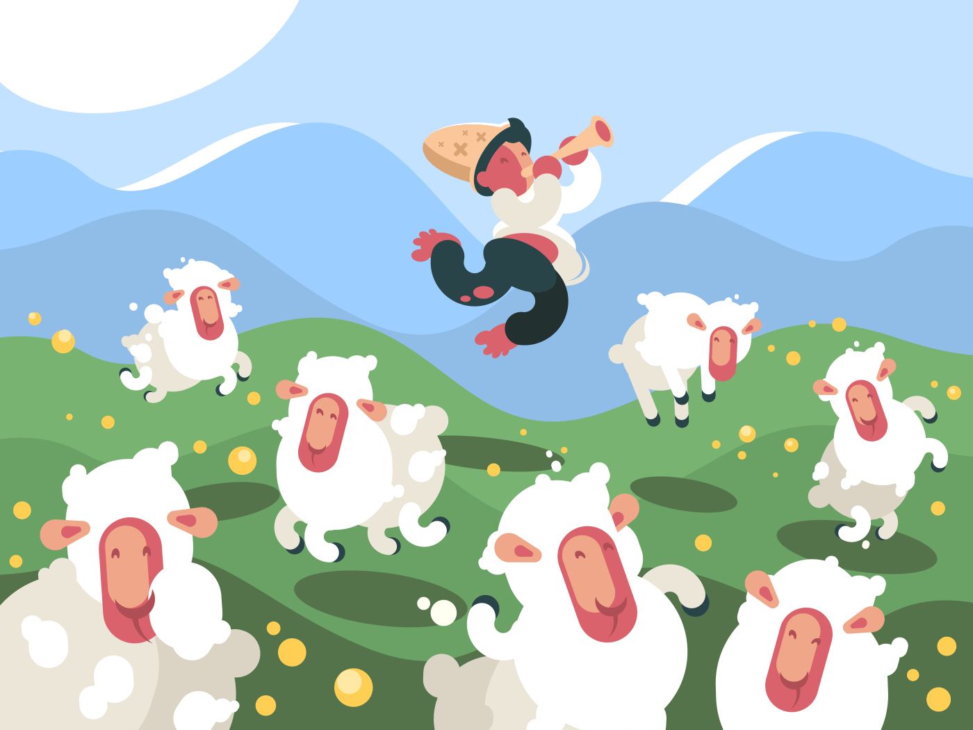 Shepherd grazes herd of sheep on green meadow. Vector illustration