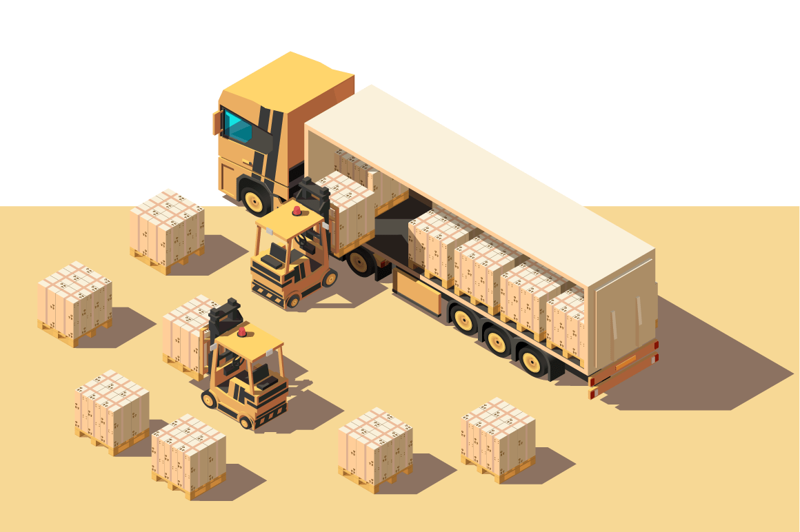 Isometric 3d shipment truck with forklift and box for delivery moving.