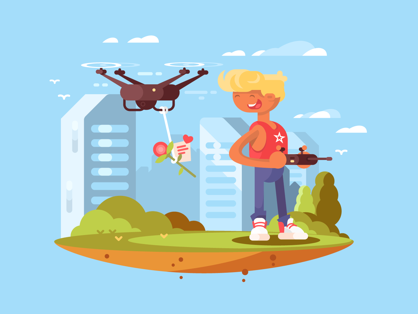 Delivery using quadrocopters flat vector illustration