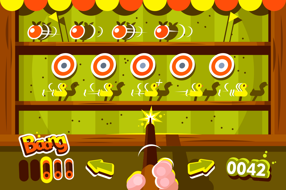 Human hand holding gun in shooting gallery. Target duck and apple. Vintage look. Flat. Vector illustration.
