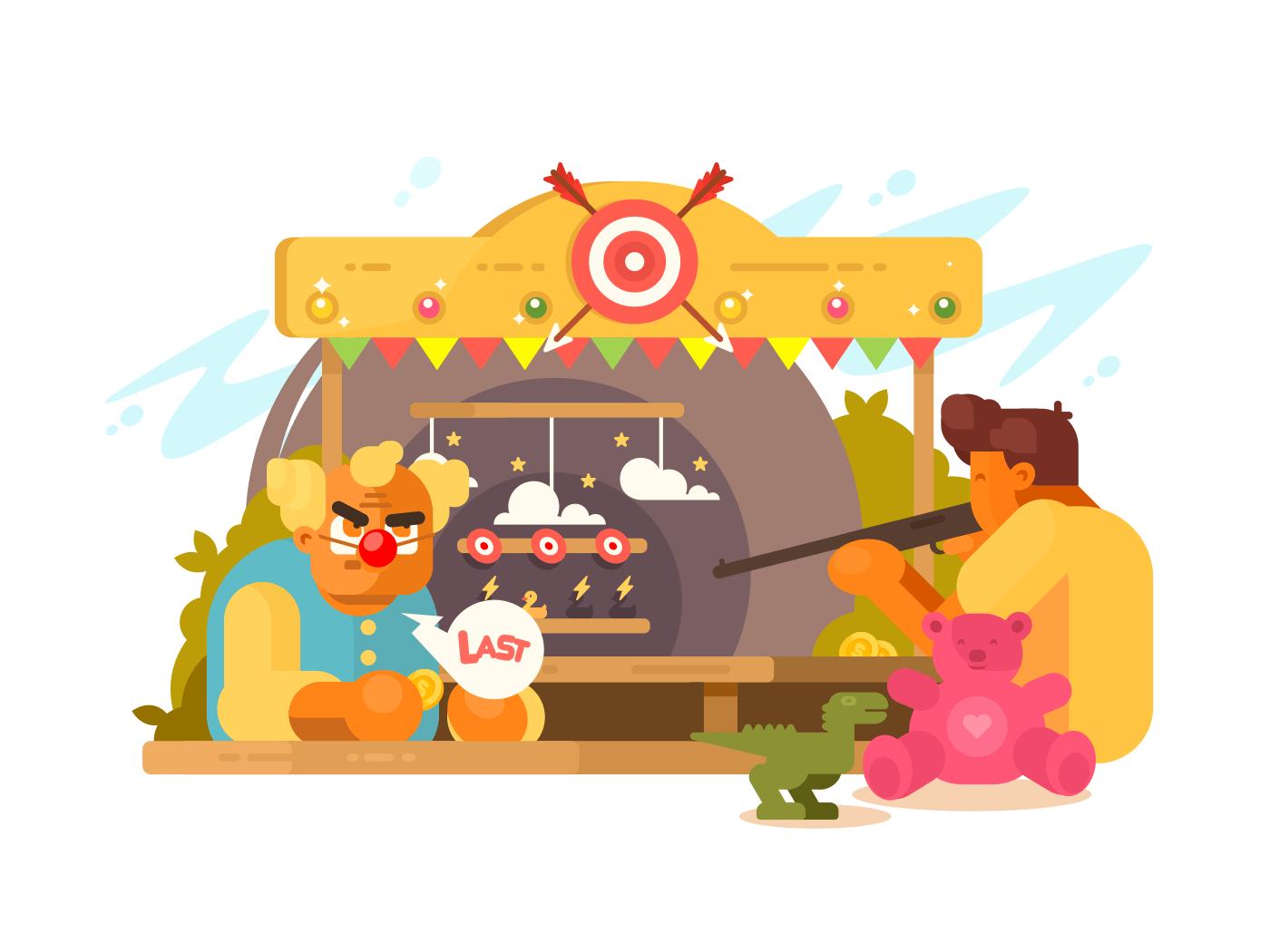 Amusement Park with shooting range illustration