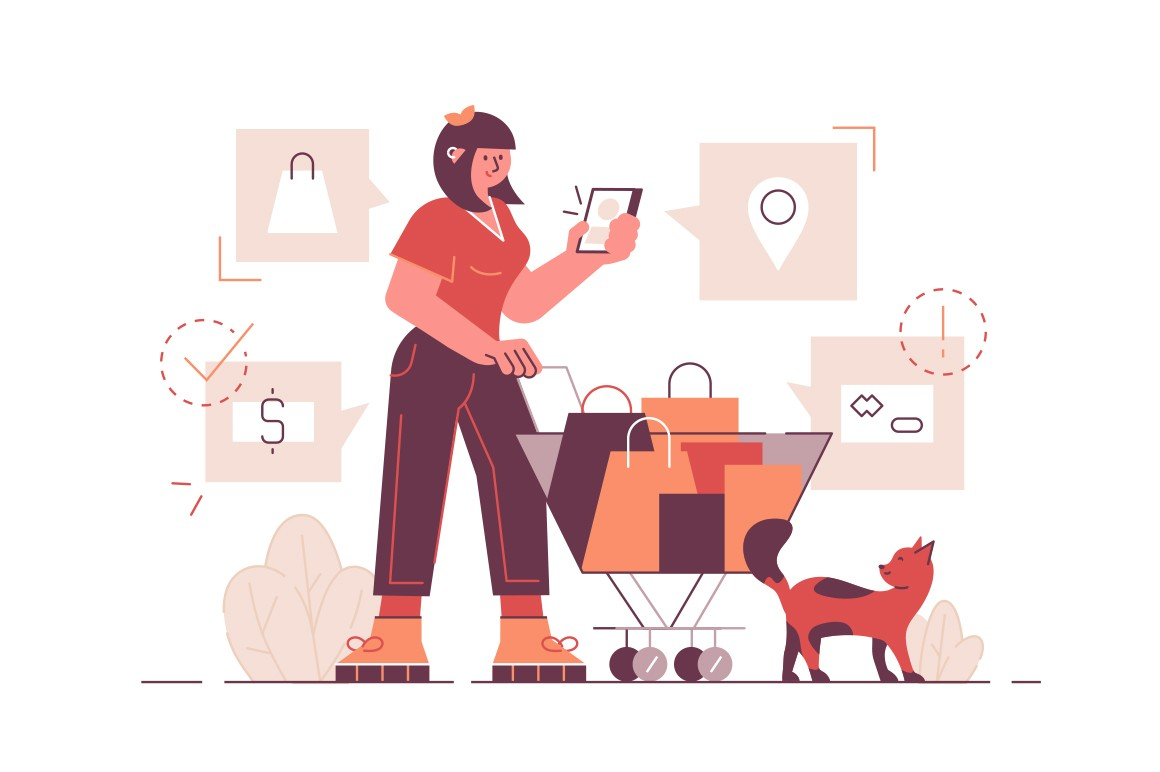 Shopping in retail store vector illustration. Woman with trolley purchasing goods from list in smartphone flat style design. Bag, geolocation pin, money and attention signs in cellphone