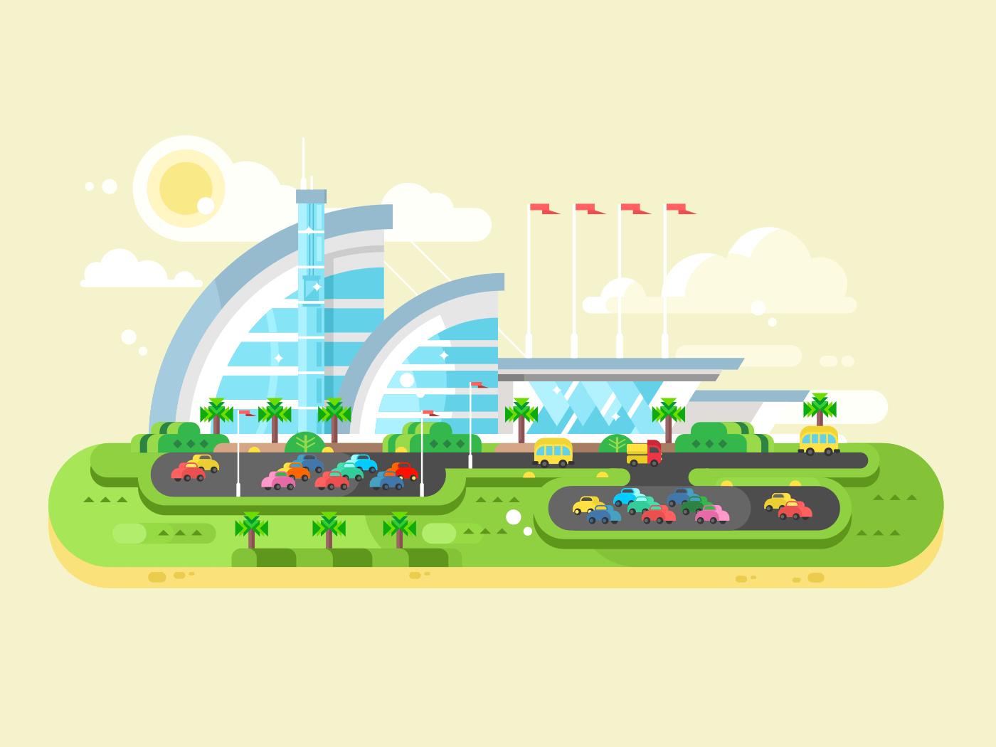 Shopping center mall flat vector illustration