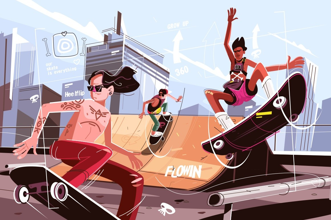 Modern urban skateboard park vector illustration. Guys in casual clothes skateboarding and showing exciting tricks flat style design. City landscape on background. Extreme sport concept