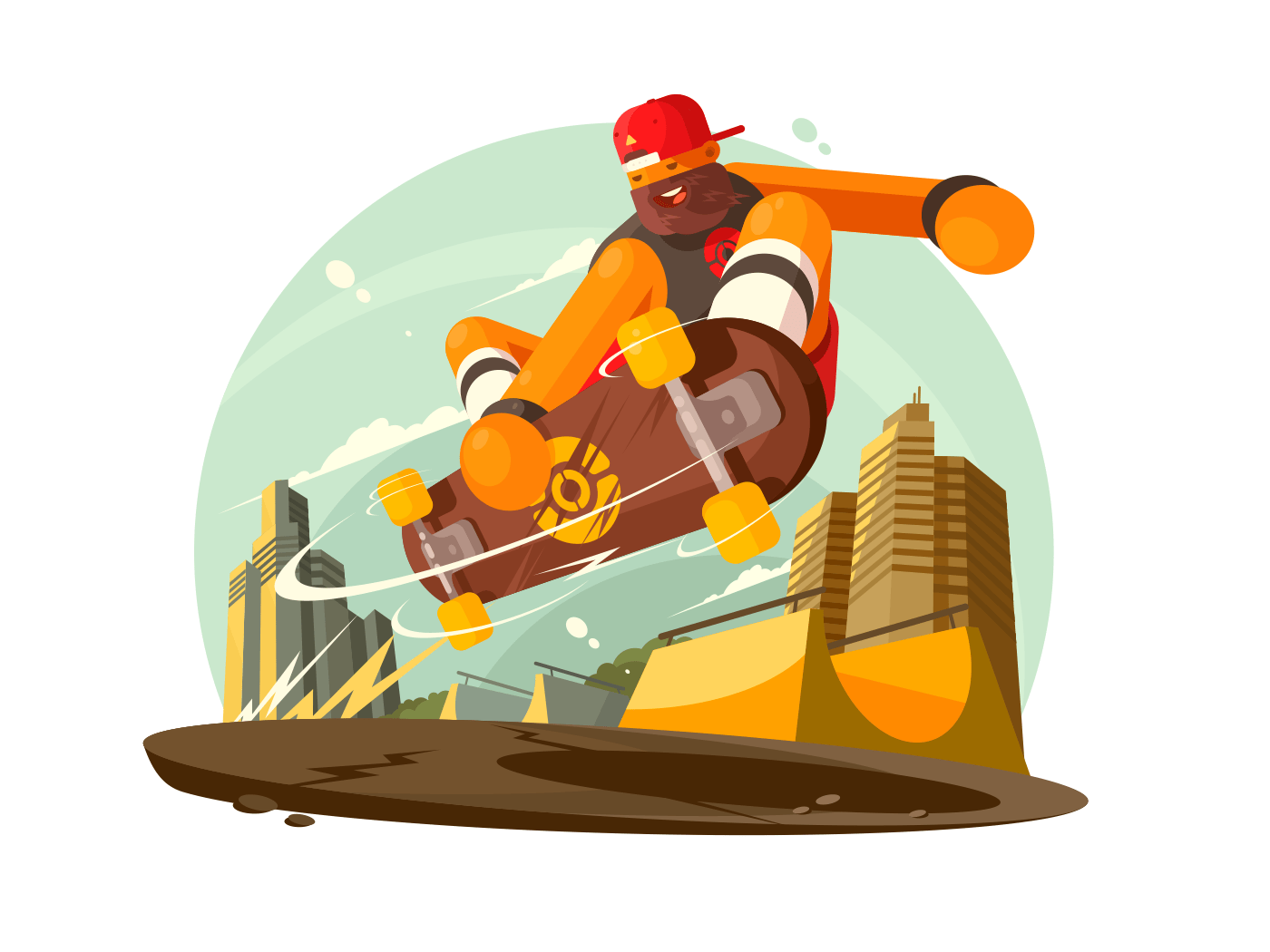 Guy riding skateboard in city illustration