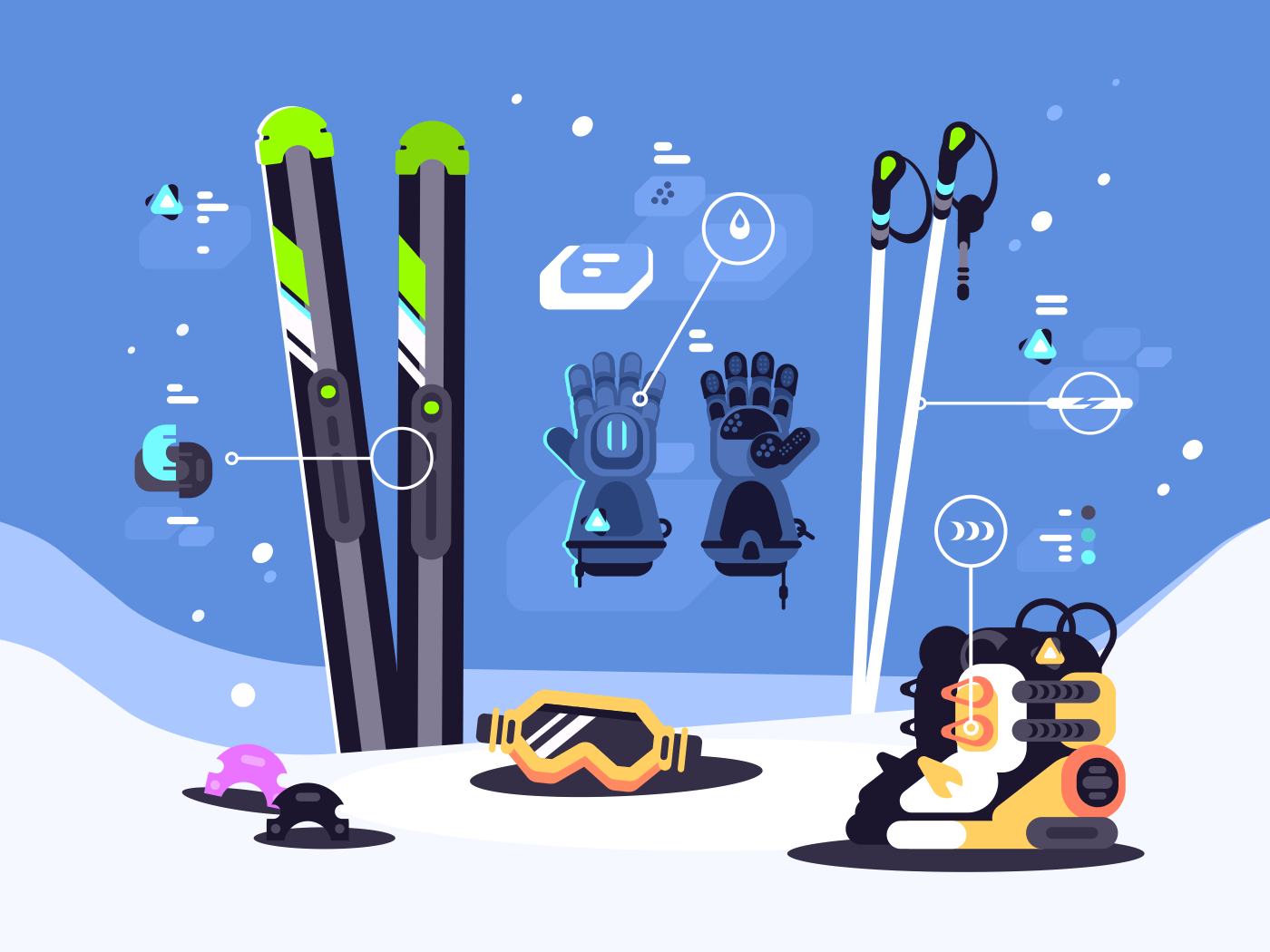 Set of equipment for skiing. Boots and gloves, mask and skis. Vector illustration