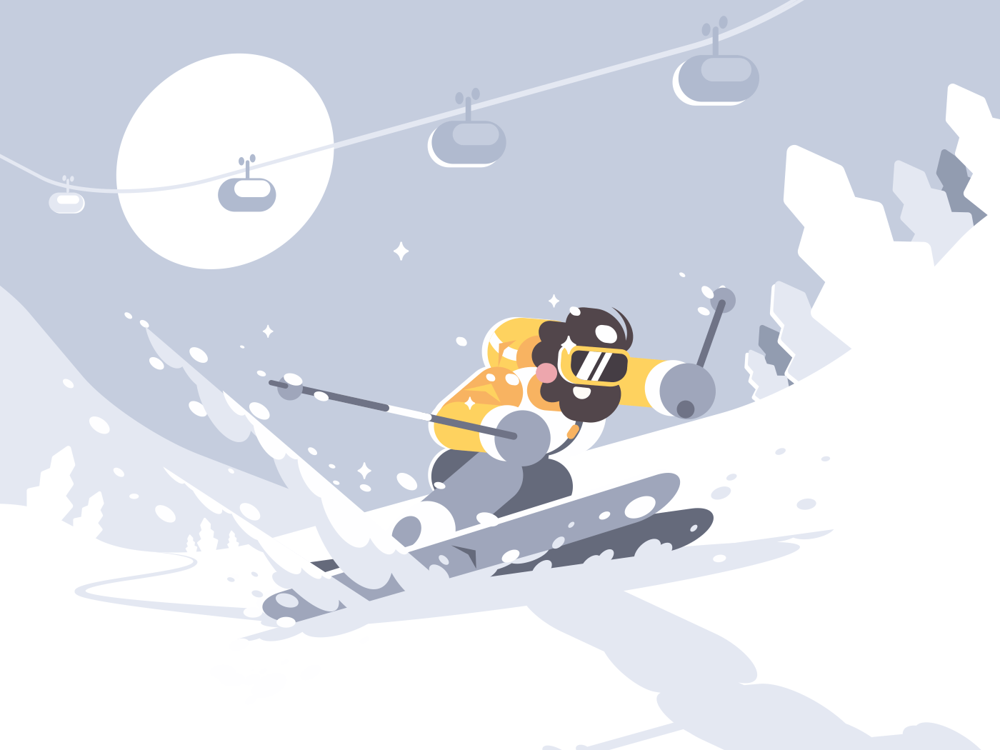 Skier skiing in ski resort. Winter activities rest. Vector illustration