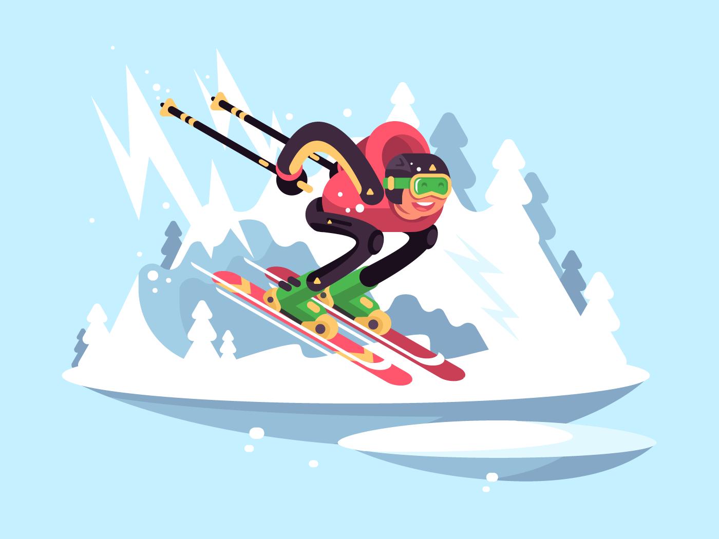 Man skiing in winter flat vector illustration