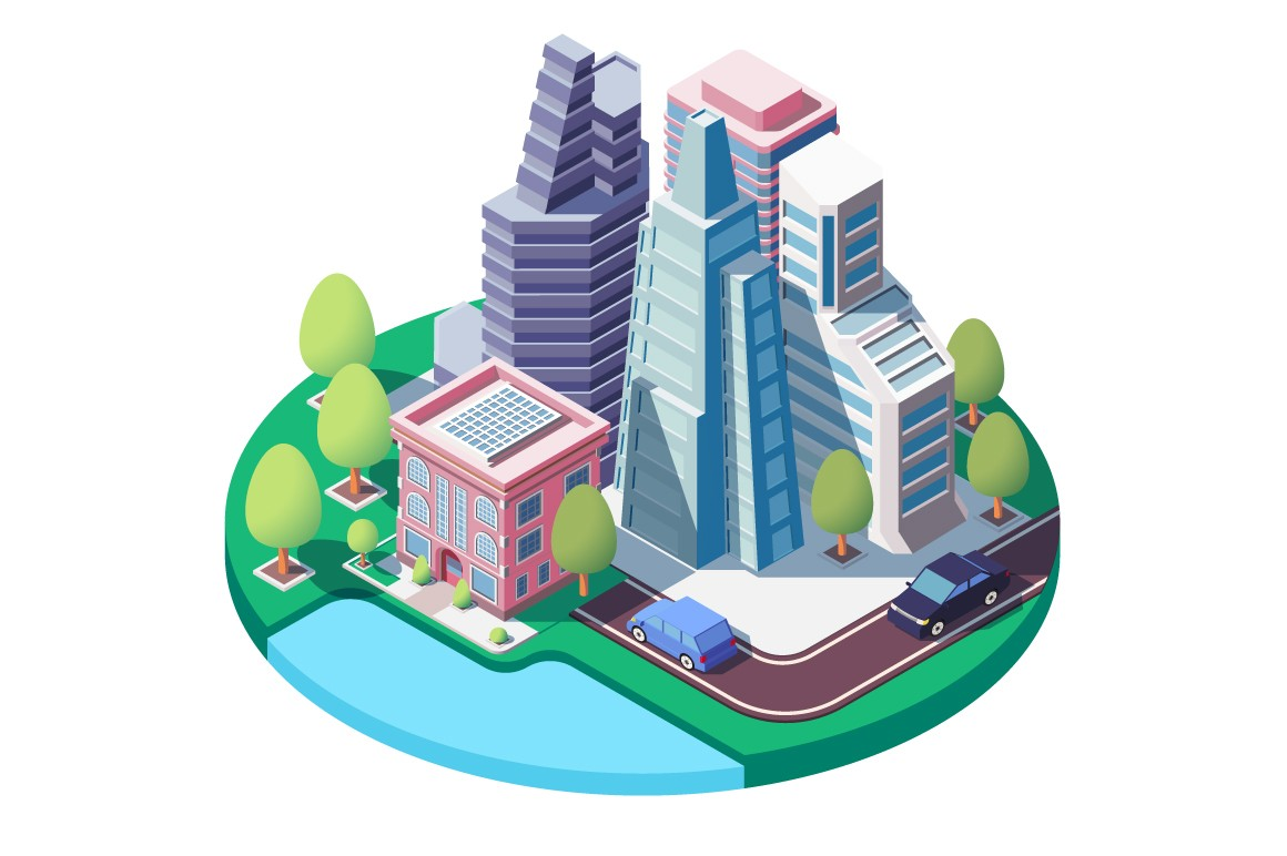 3d isometric city landscape with street, urban park, skyscrapers.