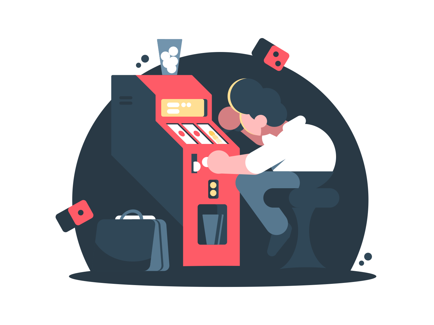 Man plays slot machine in casino. Gambling addiction, vector illustration