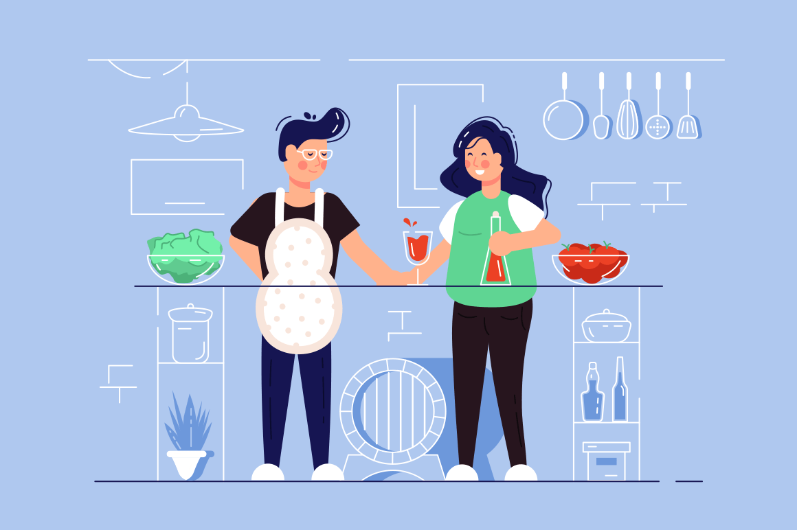 Developing small business vector illustration. Cartoon man and woman standing at workplace flat style concept. Kitchen cafe interior with kitchenware and foodstuffs. Support local biz