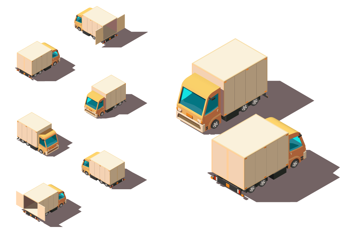 Isometric 3d set small shipment truck for delivery moving.