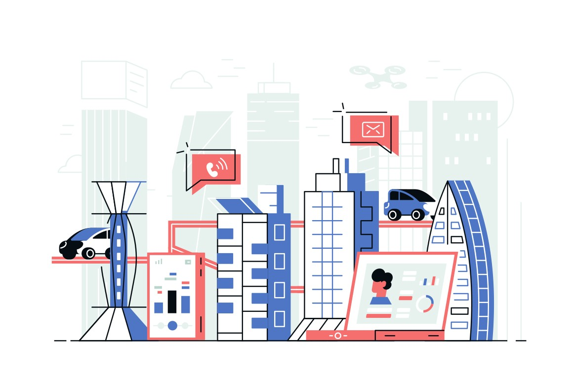 Modern smart city landscape vector illustration. Skyscrapers, parking, drone controlled via special app on gadget flat style design. Modern technology concept