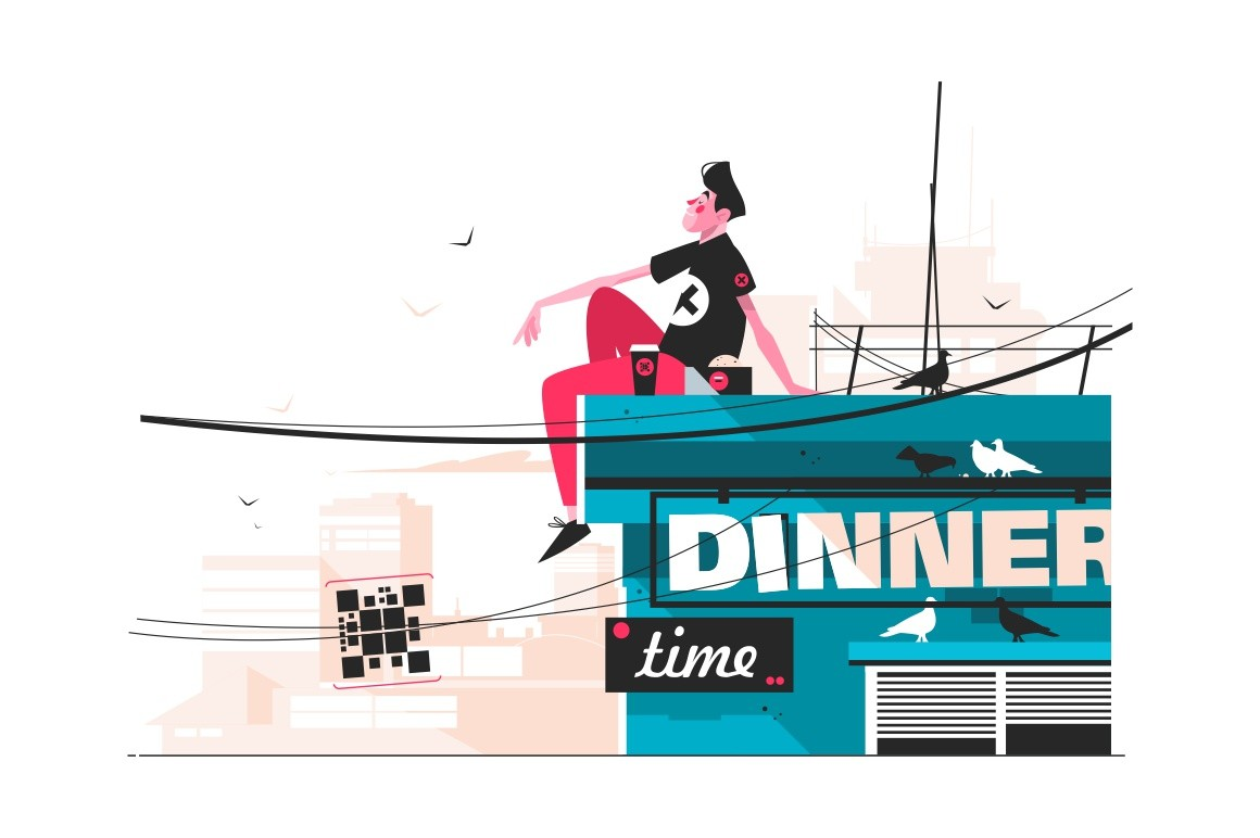 Guy eating snacks on roof vector illustration. Young man sitting on buildings top and enjoying beautiful view flat style design. Dinner time concept. City landscape on background