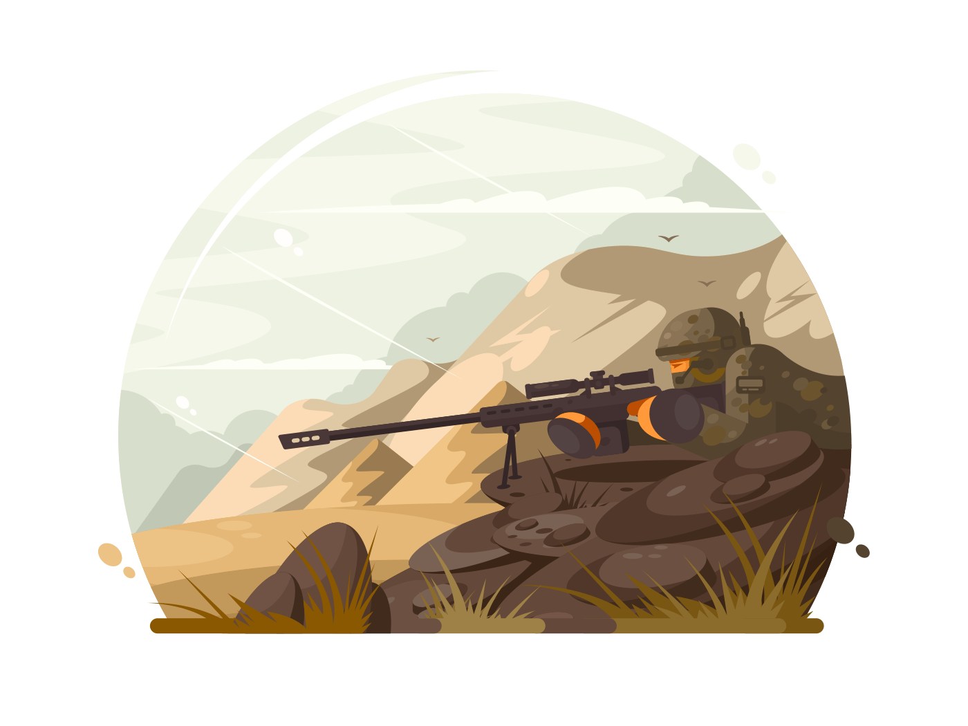 Military sniper lies in wait illustration