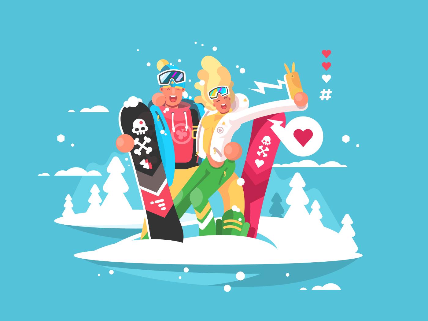 Happy couple snowboarders