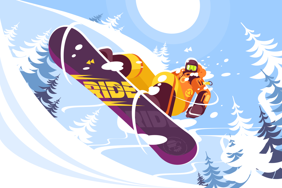 Jumping snowboarder in trendy suit flat style vector illustration. Well-dressed man in bright orange sportswear. Winter and sport concept. Snowy trees on background