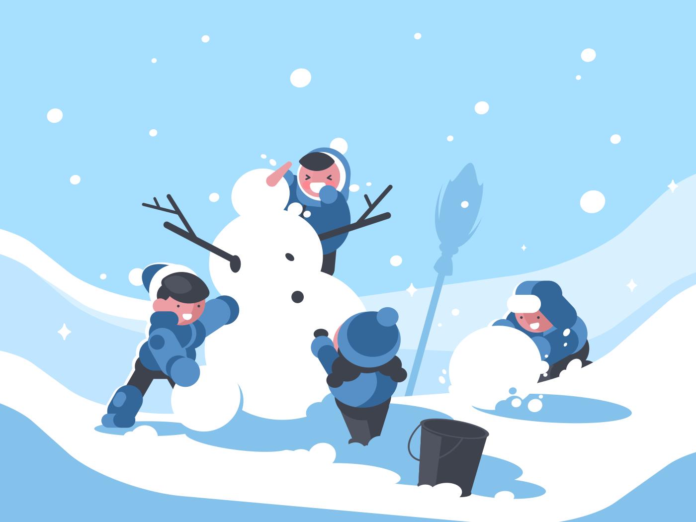 Children build snowman in winter. Childrens snowy fun. Vector illustration