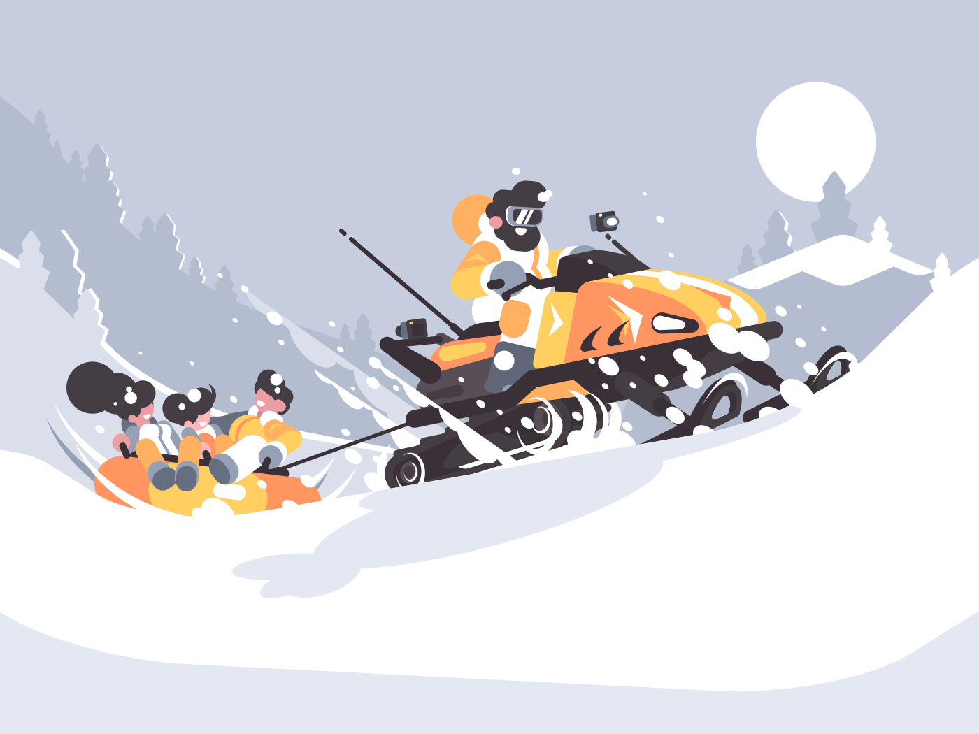 Man on snowmobile drives children. Winter fun in snow. Vector illustration