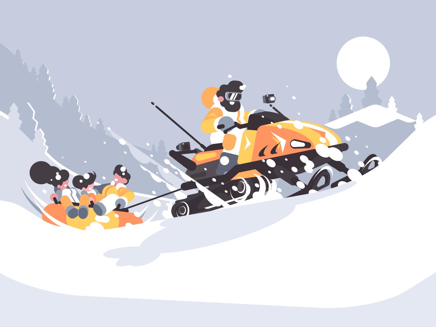 Man on snowmobile drives children. Winter fun in snow. Vector illustration