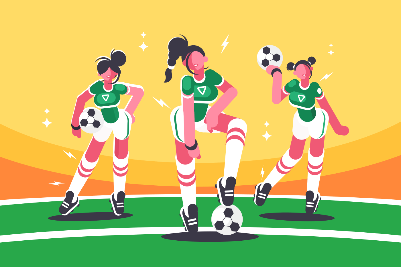 Football woman team. Girls with ball for soccer game. Vector illustration