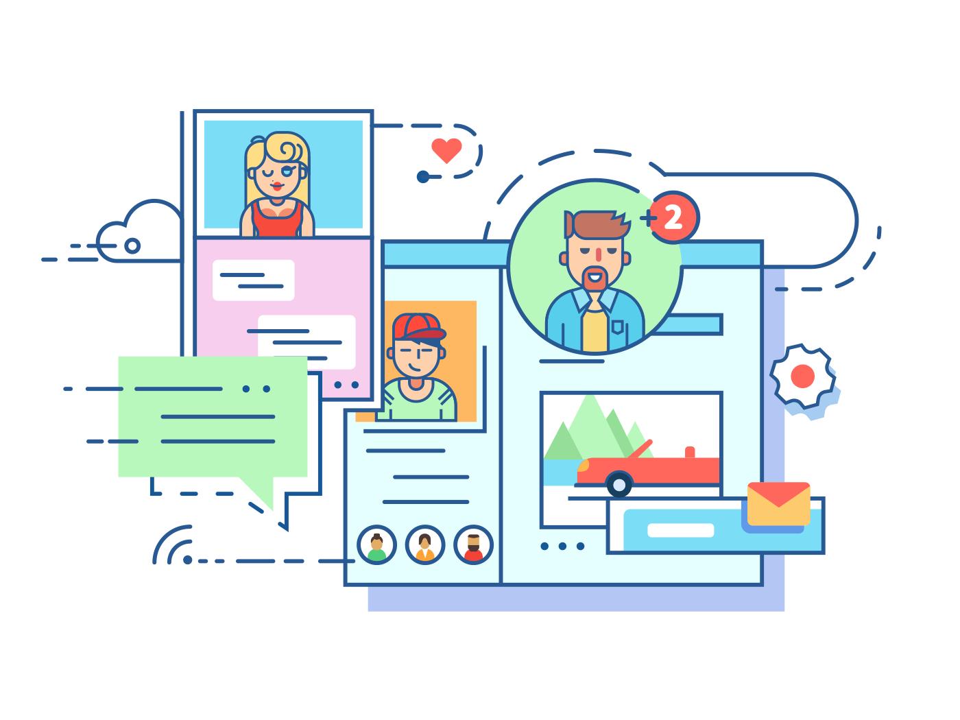 Social communication network line vector illustration