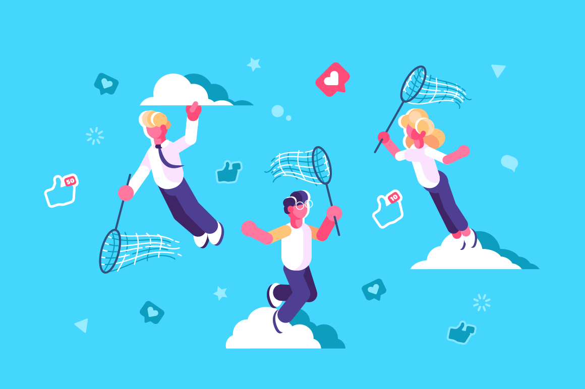 Global social media network design vector illustration. People with butterfly net chasing flying away likes and thumb up icons flat concept. Blue sky and white clouds on background
