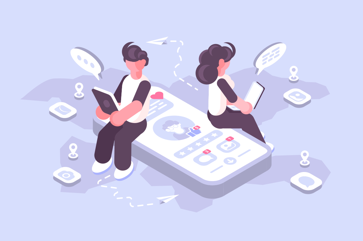 Cartoon man and woman using social media on modern gadgets. Teens surfing internet web site apps with account profile vector illustration. Connecting people together with cutting-edge technology