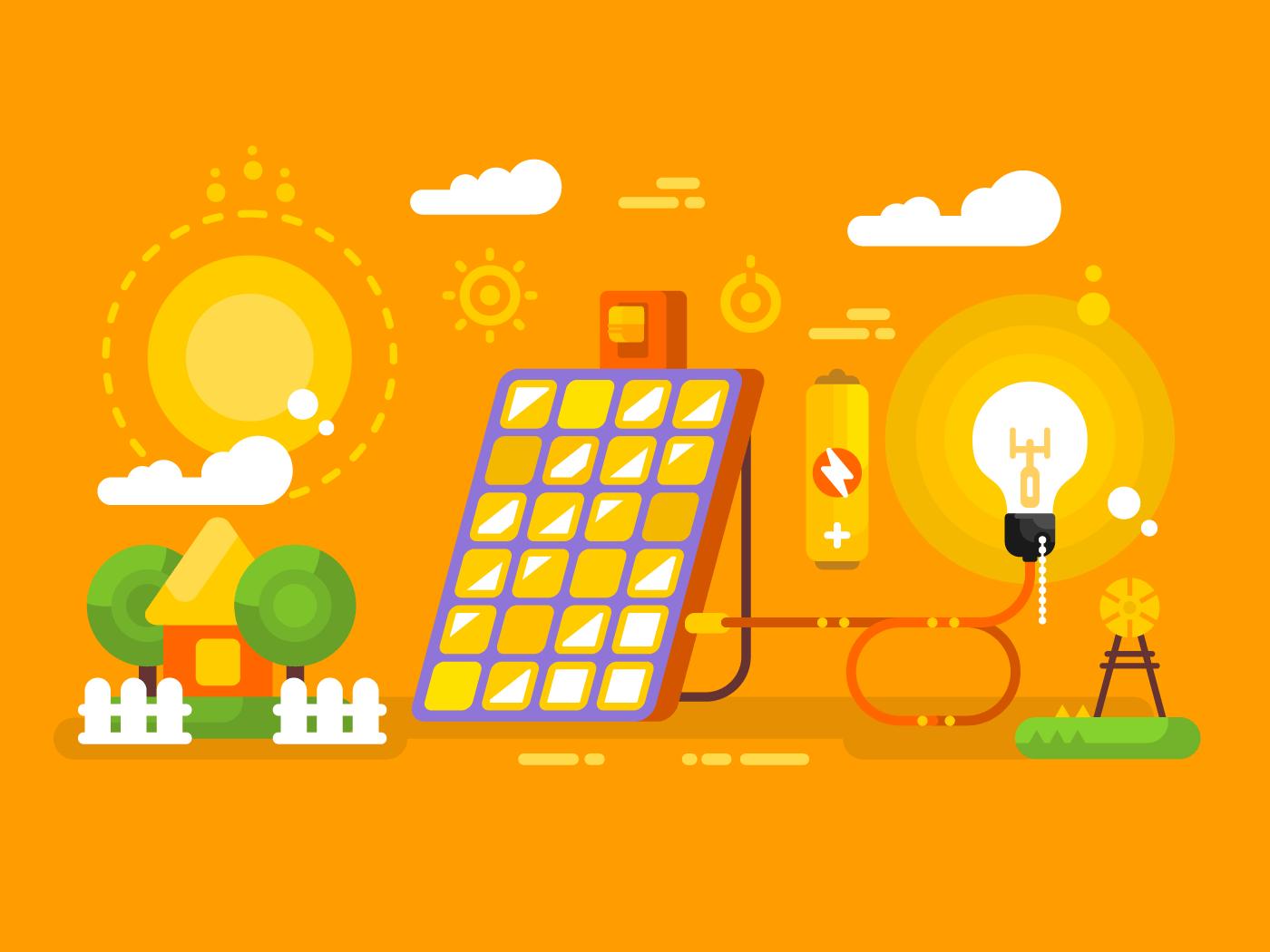Solar battery flat vector illustration