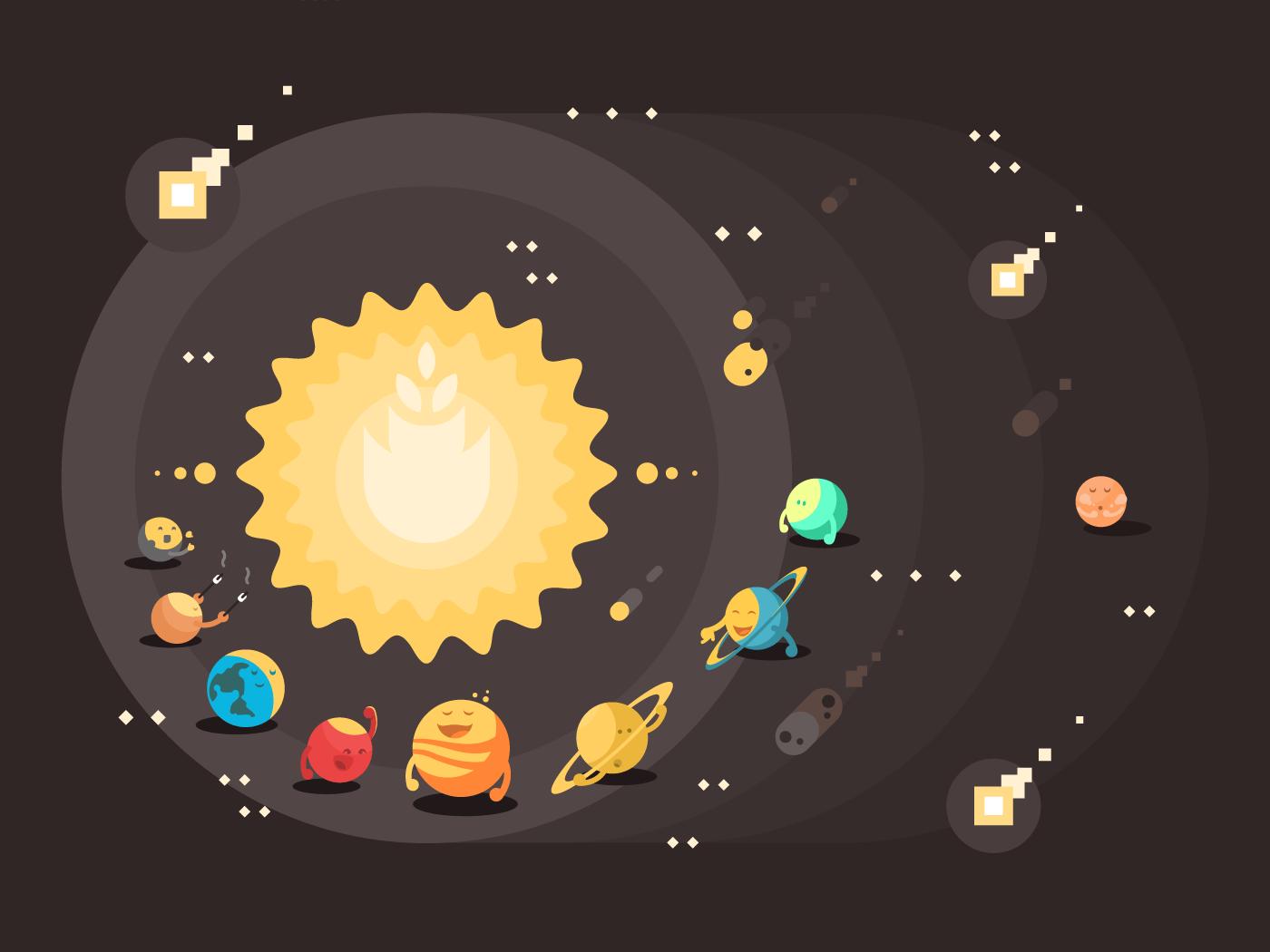 Solar system flat vector illustration