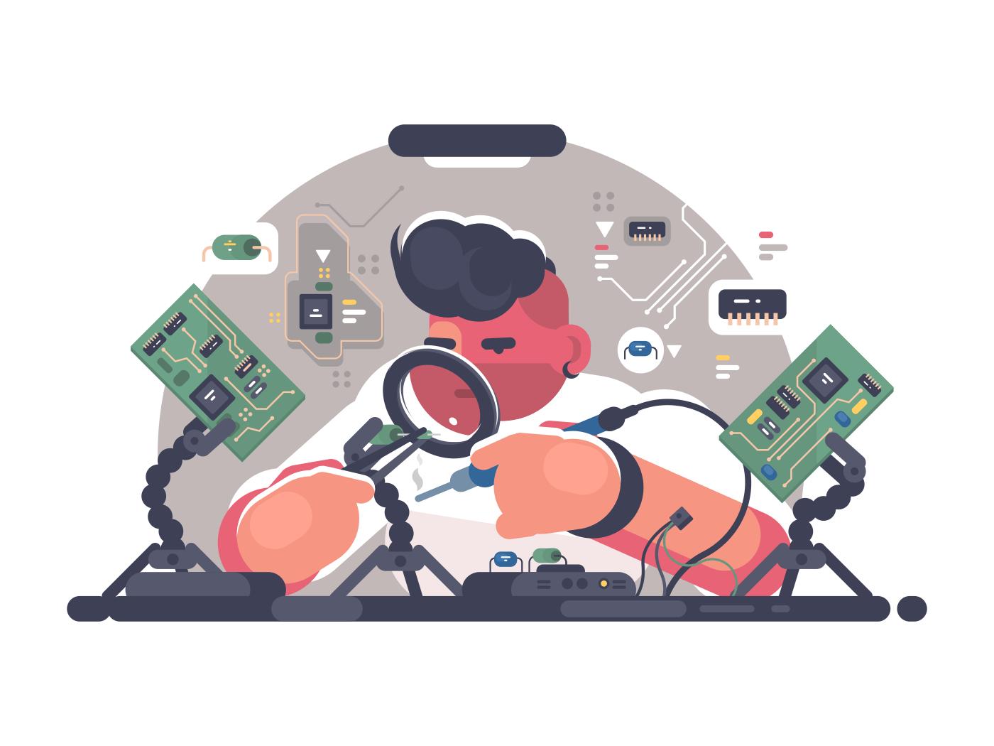 Man solder iron electric board. Diagnostics and repair. Vector illustration