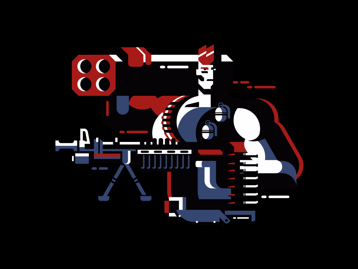 Soldier with gun flat vector illustration